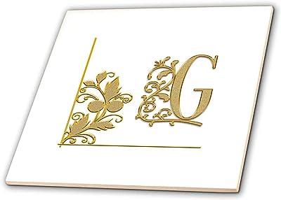 3dRose Alexis Design Elegant Yellow Floral Ornament Monogram T-Shirts Monogram Yellow Ornament High Initial T