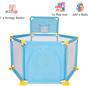 WJSW Preschool Toys Indoor Playground Protective Playpen Activity Area Fence with Storage Basket  Play Mat  200 Balls 129cm Diameter Blue