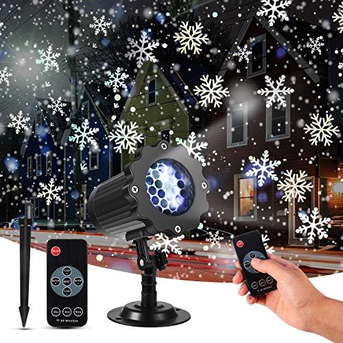 LED Projektor Weihnachten, mimoday LED Schneeflocke Projektor Lichter, Projektor Lampe Schneefall Effektlicht mit Fernbedienung, Wasserdichter für Außen und Innen Deko