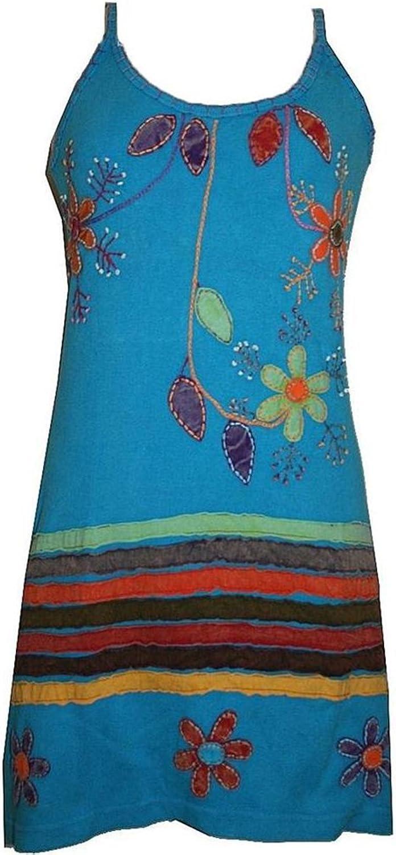 01 RD Agan Traders Knit Cotton Sleeveless Flower Leaflets Sun Dress