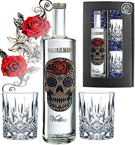Prime Presents Geschenkset: Iordanov Vodka (0.7 l) - Flower Skull! Geschenkset inkl. 2 Tumbler-Gläsern! Experte, Genießer, Kenner