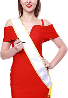 Crazy Night Blank Pure White Customizable Satin Sashes-Pack of 6