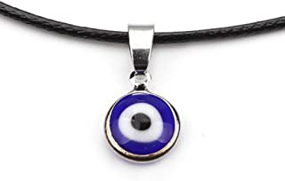 Turkey Blue Evil Eyes Pendant Necklace Alloy Chain Rock Amulet Jewelry Leather Chain Handmade Enamel Evil Eyes Necklace Jewelry