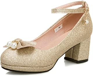 Dames glanzende mooie boog-knoop glitter mode pumps dikke hakken jurk enkelbandje sandalen