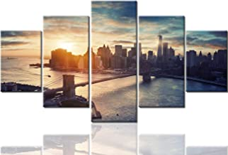 Brooklyn Bridge Paintings Wall Decorations for Living Room New York City Pictures Urban Pictures 5 Panel Canvas Wall Art Modern Artwork Home Decor Giclee Wooden Framed Ready to Hang(60''Wx32''H)
