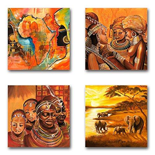 Mia Morro Afrika Bilder Set D, 4-teiliges Bilder-Set jedes Teil 29x29cm, Seidenmatte Optik auf Forex, Moderne schwebende Optik, UV-stabil, wasserfest, Kunstdruck für Büro, Wohnzimmer, XXL Deko Bild