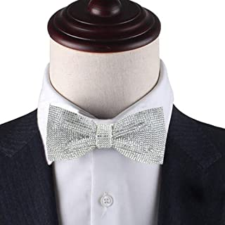 White rhinestones bow tie, White bow tie, Silver bow tie, Silver rhinestones pre tied bow tie, Dream Up Idea