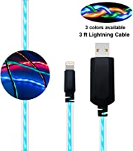 Led iPhone Charger, BUSOH Led iPhone Charging Cable, 3 Feet Flowing Led Quick Charger for iPhone Xs/X/XR/Max/8/7/6/Plus/5 (Flowing Blue)