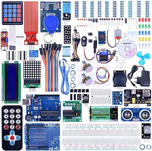 Quimat Progetto Completo Kit Starter con Tutorial, Scheda di Sviluppo, Scheda di espansione, LCD1602, Servo, Motore Passo-Passo, Joystick (69 Articoli)