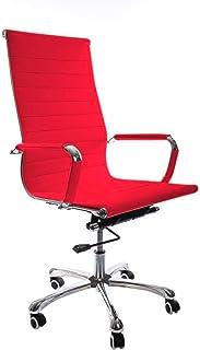 Vivol Madrid - Silla de escritorio de piel sintética, ergonómica, 120 kg, giratoria, con ruedas y reposabrazos