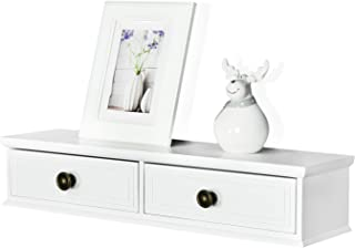 WELLAND Floating Shelves Wall-Mounted Storage Shelf 2 Drawers Entryway White Wall Shelf, A/V Components Other Media Accessories (24.5inch)
