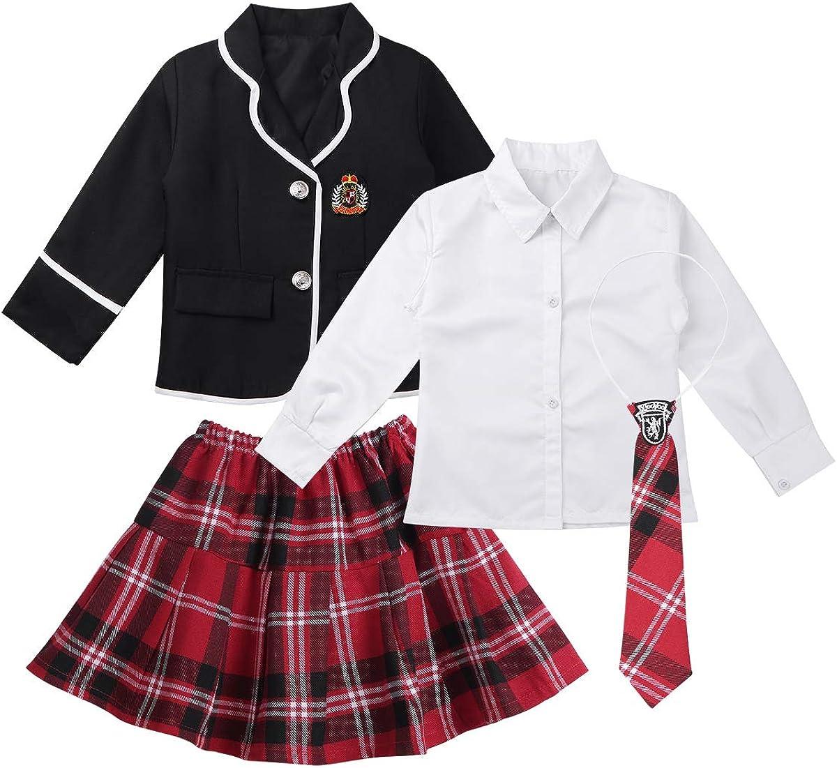 YUUMIN Kids Girls 4PCS British Washington Mall Style Long Sleeves famous Sets with Coat