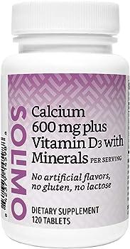 Amazon Solimo Calcium 600mg plus Vitamin D3 40mcg Minerals 120 Tablets