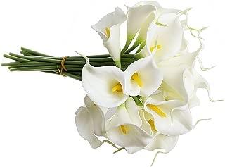TOOGOO(R) Ramo nupcial de la cala blanca con 10 flor latex del tacto real KC51 para la boda
