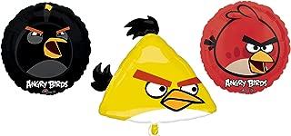 3 Angry Birds Mylar Balloons - Angry Bird Foil Balloon Bouquet
