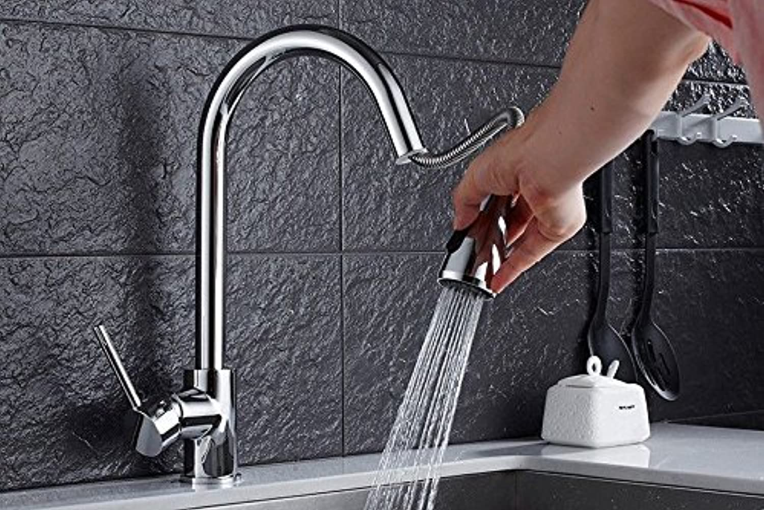 Bijjaladeva Antique Kitchen Sink Mixer Tap Kitchen Faucet Pull redary Tank Washing Dishes hot and Cold Basin Mixer