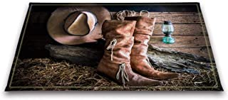 LB Old Western Cowgirl Boots Hat in Farm Barn Straw Small Bedroom Rugs, Anti Skip Rubber Backing Comfortable Soft Surface, Texas Country Themed Rug 15 x 23 Inches