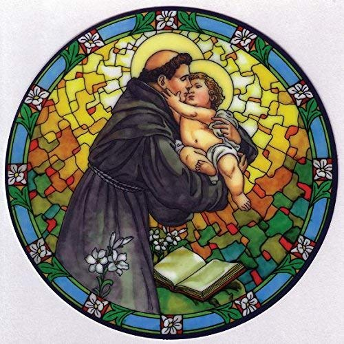 St. Anthony Window Decal, Reusable Vinyl Suncatcher, Stained Glass Design