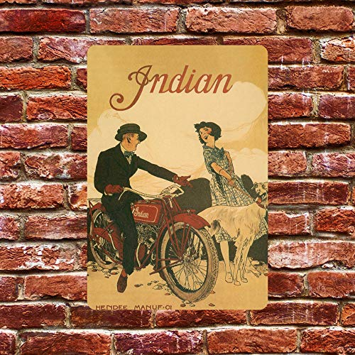 Ainiteey Tin Sign INDIAN Tin metal sign plaque wall decor poster garage shed bar pub club kitchen 8 x 12 inch
