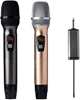 Wireless Microphone, at alltone UHF Dual Handheld Dynamic System with Rechargeable Receiver for Party, Karaoke, Church, Meeting, Wedding (260ft Range)
