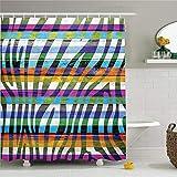 CHENHAO Cortina de Ducha Lavable Zebra Print Set de decoración Art Colour Zebra Print en tablones de Madera Diseño artístico Decorativo Impermeable 200X200cm