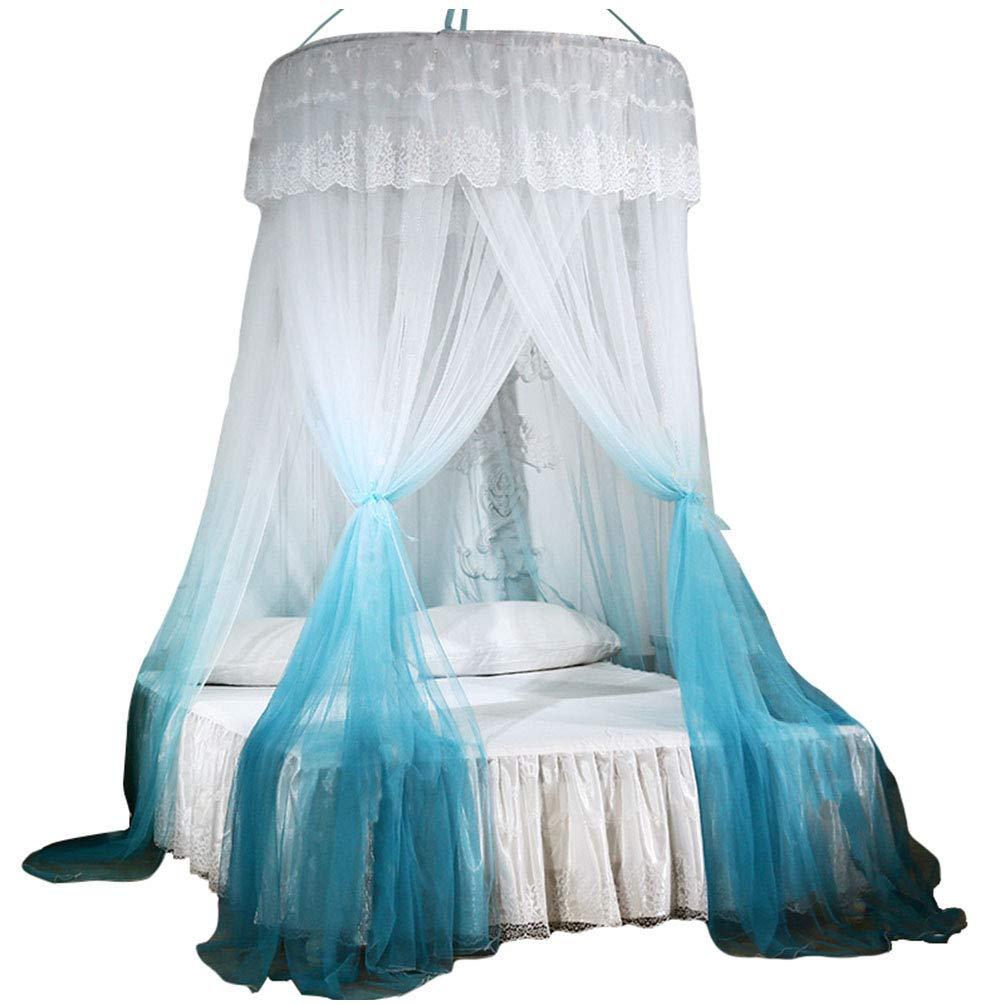 Kinderbetten Kaiyei Moskitonetz Universal Himmelbett Farbig Insektennetz Bett f/ür Doppelbett Prinzessin Rund mit Klebehaken Schlafzimmer Palast Europ/äischer Stil Blau+Gelb 120cm/×200cm Einzelbett