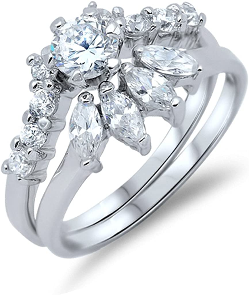 .925 Brand new Sterling Silver Bridal Ring Our shop most popular Unique Wave Design Wedding Sets