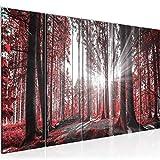 Runa Art Wandbild XXL Wald Landschaft 200 x 80 cm Rot 5 Teilig - Made in Germany - 503855c