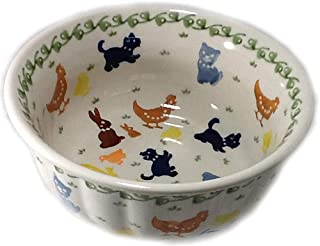 Polish Pottery Rippled Bowl Cereal Chili Ice Cream On the Farm Cats Dogs Ducks Chickens Bunnies