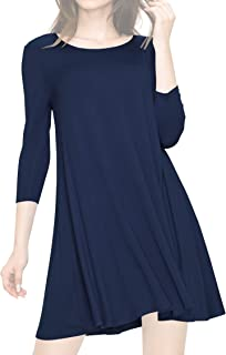 Women's S~3XL Round Neck 3/4 Sleeves Swing Flared Tunic Dress Longline Top - Made in USA
