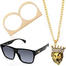 Beelittle 80s 90s Hip Hop Rapper Gangster Costume- Retro Glasses Gold Chain Necklace Gold Plated Ring Accessories