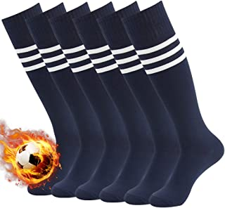 fa7fce151ec4 3street Unisex Moisture Control Comfort Over Knee Striped Sport Soccer  Football Team Tube Socks Navy+