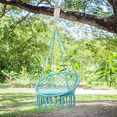 Maxmass Hammock Swing Chair, Indoor Outdoor Hanging Chair with soft Cushion, Tassels Swing Seat for Home, Garden & Balcony (Turquoise)