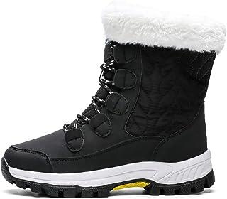 Clenp Botas de nieve, Botas de nieve de invierno de las mujeres con cordones de media pantorrilla forro de felpa impermeab...