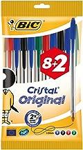 BIC Cristal Original Ballpoint Pens Medium Point (1.0 mm) - Assorted Colours, Pouch of 8+2