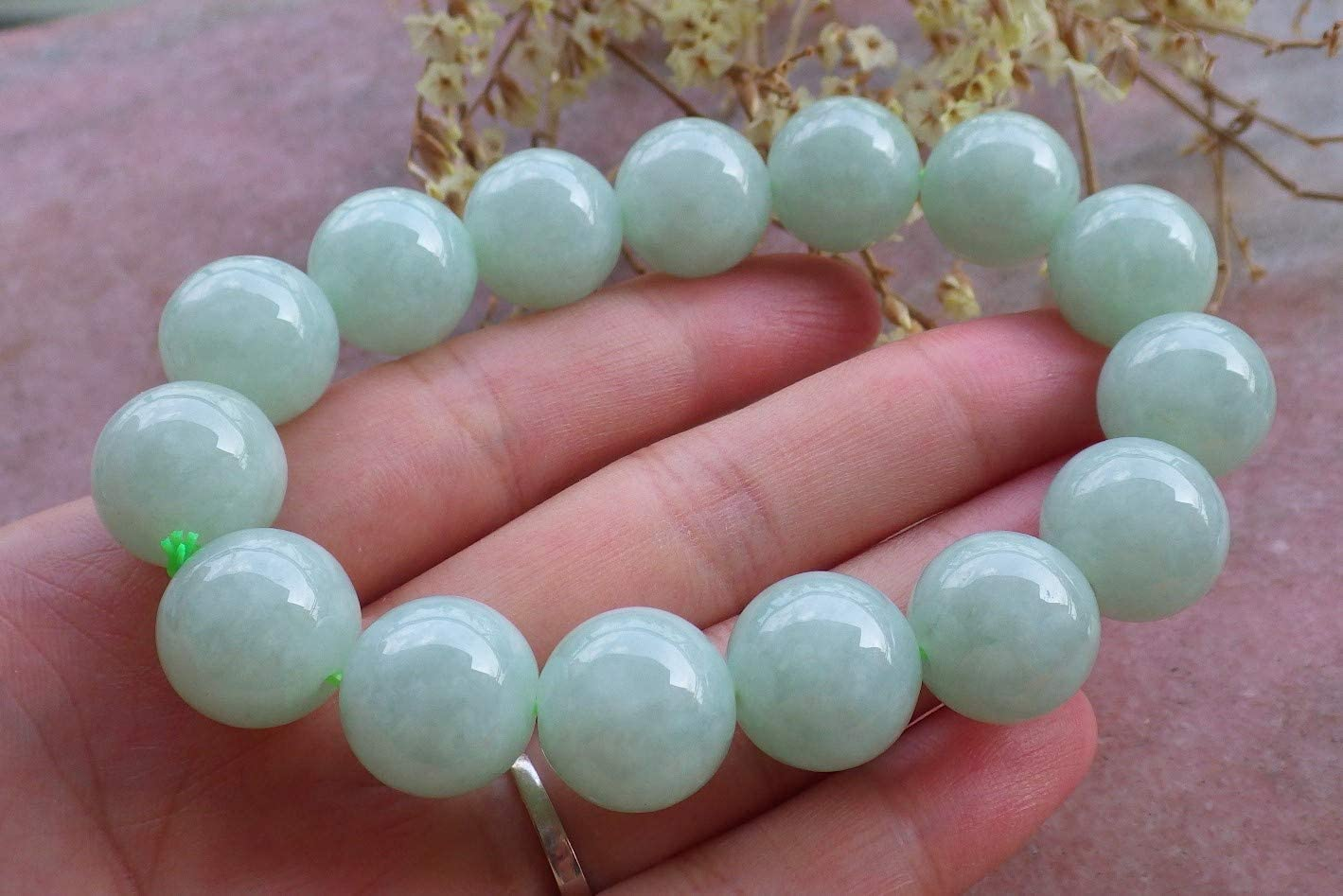 gojade Certified Green 100% Natural A Jade Jadeite Bead Beads Bangle Bracelet (Bead: 13 mm Approx) 翡翠手链 728769