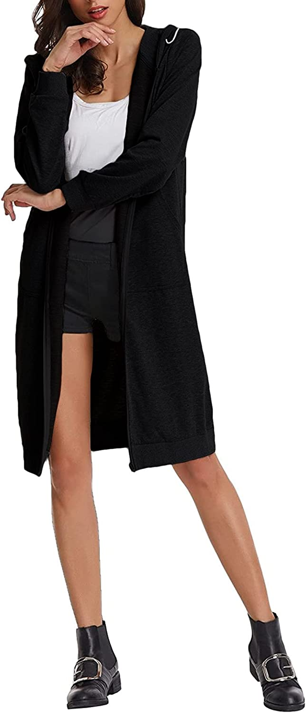 LilyCoco Women Casual Zip Up Fleece Tunic Sweatshirt Long Hoodie Jacket with Pockets