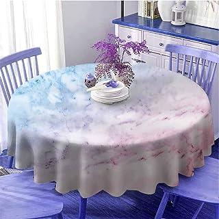 Vicwowone Nappe de table ronde avec motif tourbillon shabby chic et effet marbre de style baroque/rococo/victorien, gris c...
