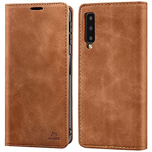 AFARER Einfache Art Brieftasche Handyhülle Kompatibel mit Samsung Galaxy A7 2018 - Braun