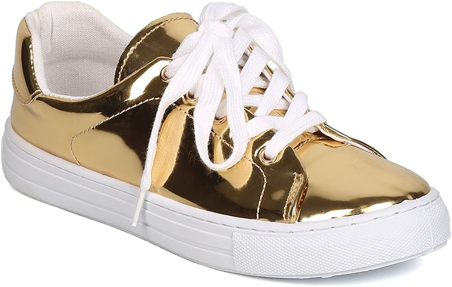 Qupid Women Metallic Leatherette Lace Up Sneaker GJ70 - gold