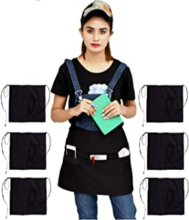 Ruvanti Black Waitress Apron - 6 Pack Cotton Enriched Waist Apron with 3 Pockets- Long Ties,Extra Coverage, Commercial Grade Server Aprons. Durable Fabric, Comfortable Half Apron/Money Apron