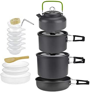 Jucoan 15 PCS Portable Camping Cookware Mess Kit, Outdoor Cook Gear with Collapsible Aluminum Nonstick Pot Pan Kettle Set,...