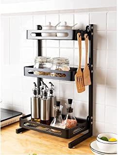 Étagère à épices en acier inoxydable - Rangement de plan de travail de cuisine - Robuste et durable - Maximise l'espace de...