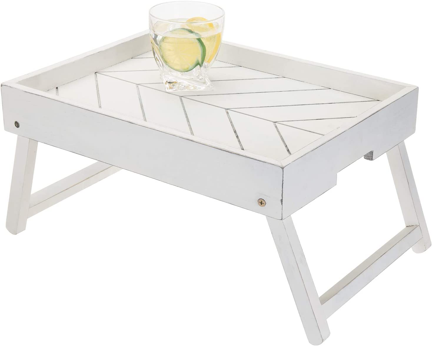 Max 56% OFF MyGift Vintage White Wood Breakfast Legs Foldable Safety and trust Tray Brea with