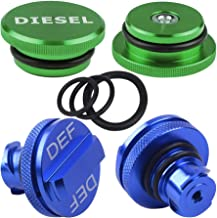 HKOO Diesel Fuel Cap for Dodge, Billet Aluminum Green Fuel Cap Magnetic and Blue DEF Cap for 2013-2018 Dodge Ram Truck 1500 2500 3500 with Easy Grip Design (Standard Grip)
