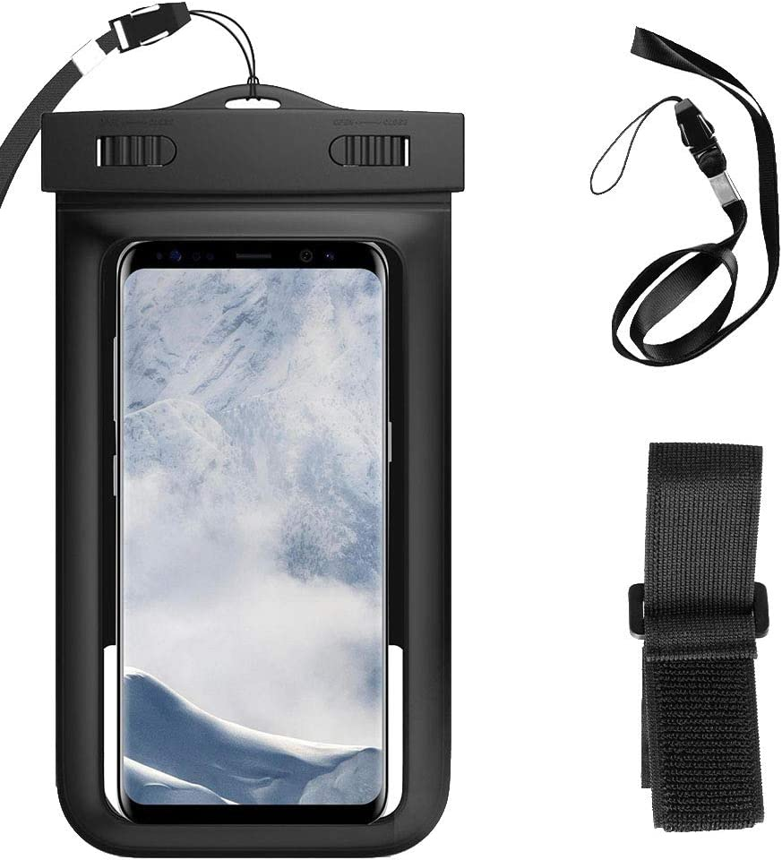 Universal Waterproof Case Cellphone Dry Bag Compatible for LG G7 Fit / G7 One / G7 ThinQ / V40 ThinQ / G6 V30 / Huawei P Smart/Mate 20 / P20 Pro/Mate 10 / Nova 2 P10 Plus (Black)