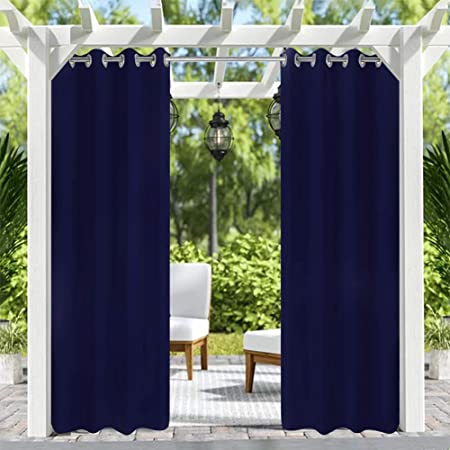 Amazon Com Pro Space Patio Outdoor Curtain Privacy Drape Thick Waterproof Fabric Heavy Duty Indoor Panel For Porch Balcony Pergola Lanai Tent Gazebo Window 50 Inch Wide By 96 Inch Long Navy
