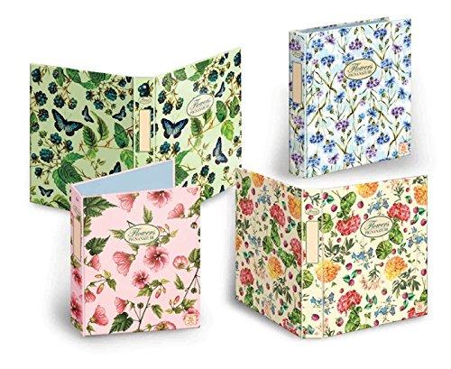Pigna Registro A4 Nature Flowers con 4 anillos, colores surtidos
