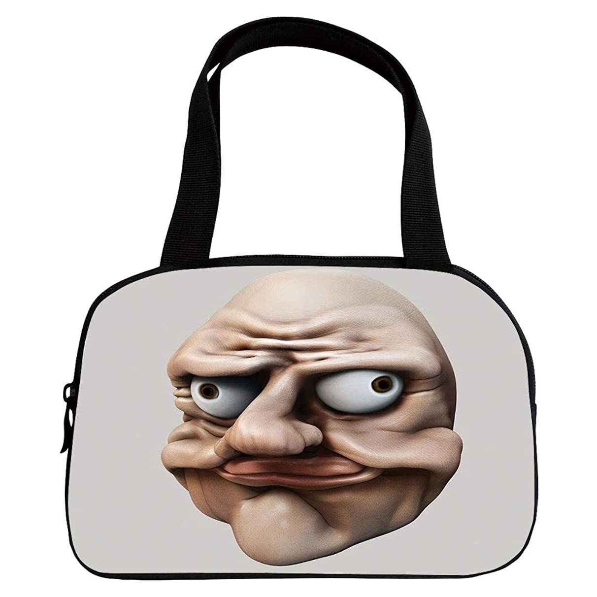 Personalized Customization Small Handbag Pink,Humor,Grumpy Internet Troll Face with Trippy Gestures Ugly Post Meme Joke Image Decorative,Egg Shell and Tan,for Girls,Personalized Design.6.3