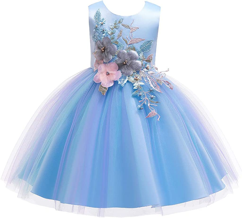 Children Girls Christmas Party Wedding Dress Teen Floral Bridesmaid Pageant Gown Dress Clothes 3-12 Years Old